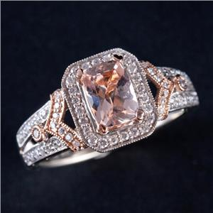 14k White / Rose Gold Morganite & Diamond Halo Style Engagement Ring 2.94ctw