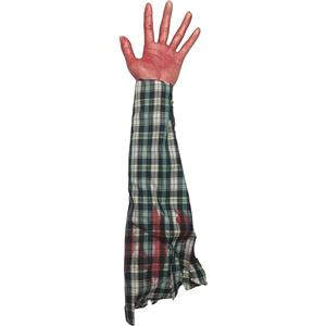 Bloody Hand and Arm with Plaid Shirt Hang out of Trunk Halloween Gag Prop