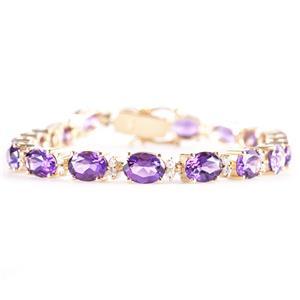 "14k Yellow Gold Oval Cut Amethyst & Diamond Tennis Bracelet 14.27ctw Length 7"""