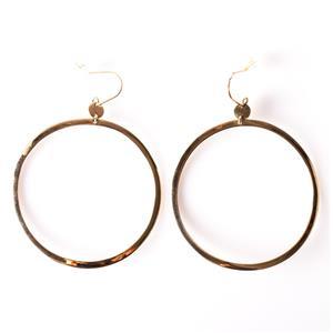14k Yellow Gold Large Circle Dangle Earrings W/ Hook Backs 4.2g