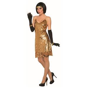 Gold Flapper Disco Dress Costume Standard