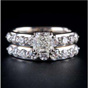 14k White Gold Cushion Cut Diamond Solitaire Engagement Wedding Ring Set 2.22ctw