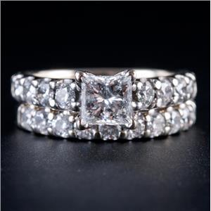14k White Gold Princess Cut Diamond Solitaire Engagement Wedding Ring Set 2.2ctw