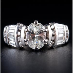 Platinum Oval Cut Diamond Solitaire Engagement Ring W/ Accents 2.03ctw