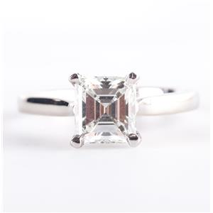 14k White Gold Square Emerald Cut Diamond Solitaire Engagement Ring 1.68ct