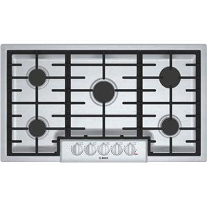 """Bosch 800 Series 36"""" 5 Sealed Burners LED Stainless Gas Cooktop NGM8656UC"""
