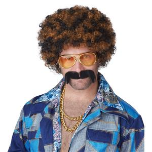 Disco Dirt Bag Two-Tone Brown Curly Afro Wig and Moustache