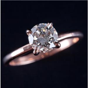14k Rose Gold Round Cut Diamond Solitaire Engagement Ring 1.08ct