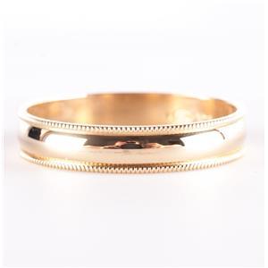14k Yellow Gold Traditional Milgrain Style Half Round Wedding Band / Ring 2.5g