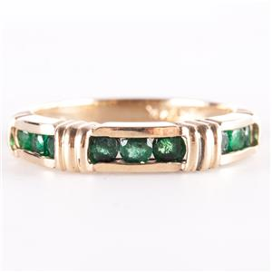 14k Yellow Gold Round Cut Emerald Channel Set Band / Ring .45ctw 3.2g