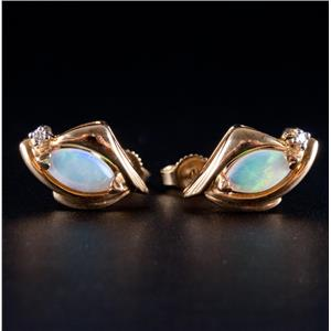 14k Yellow Gold Marquise Cabochon Cut Opal & Diamond Stud Earrings .68ctw