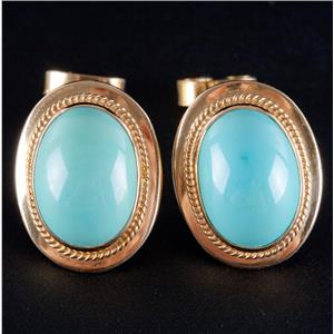 18k Yellow Gold Oval Cut Persian Turquoise Solitaire Bezel Set Stud Earrings