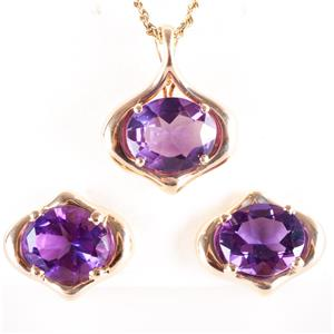 14k Yellow Gold Oval Cut Amethyst Solitaire Necklace / Earring Set 13.2ctw