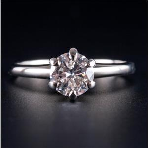 14k White Gold Round Cut Diamond Tall Set Solitaire Engagement Ring .79ct