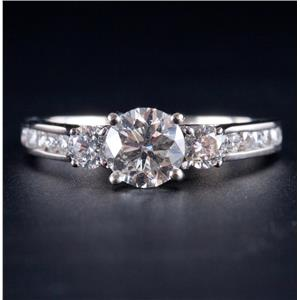 14k White Gold Round Cut Diamond Three-Stone Engagement Ring W/ Accents 1.57ctw