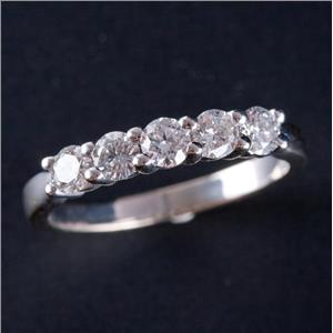14k White Gold Round Brilliant Cut Diamond Wedding / Anniversary Ring .75ctw