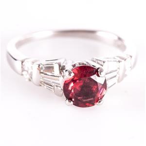 14k White Gold Round Cut Rhodolite Garnet Engagement Ring W/ Diamonds 1.63ctw
