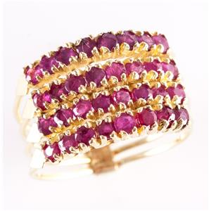 18k Yellow Gold Round Cut Ruby Four Banded Vintage Style Cocktail Ring 1.12ctw