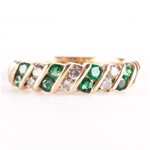 14k Yellow Gold Round Cut Emerald & Round Cut Diamond Band / Ring .50ctw