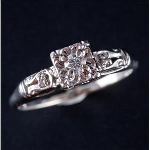 Vintage 1940's 14k White Gold Round Cut Diamond Solitaire Engagement Ring .09ctw