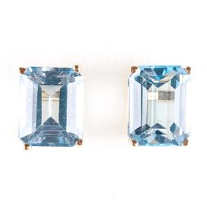 14k Yellow Gold Emerald Cut Sky Blue Topaz Solitaire Stud Earrings 6.0ctw