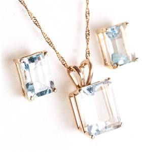 14k White Gold Emerald Cut Aquamarine Solitaire Necklace & Earring Set 5.80ctw