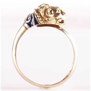 14k Yellow Gold Adjustable Size Enamel Lion Ring 3.4g Size 7