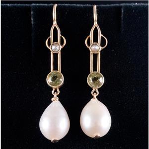 14k Yellow Gold Cultured Pearl / Seed Pearl & Peridot Dangle Earrings .60ctw