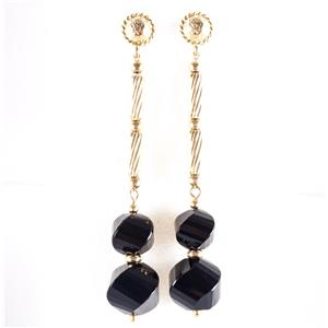 "18k Yellow Gold Spiral Bead Cut ""AAA"" Onyx Long Dangle Earrings 8.8g"