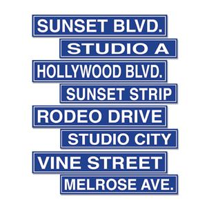 Beistle 50095 4-Pack Hollywood Street Sign Cutouts