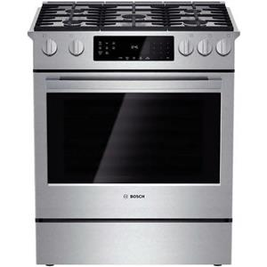 "Bosch 800 Series 30"" 5 Sealed Burners Slide-In Gas Range HGI8054UC Stainless IMG"