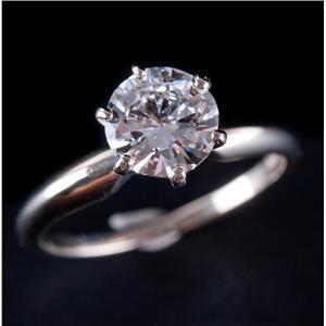 14k White Gold Round Brilliant Cut Diamond Solitaire Engagement Ring 1.0ct