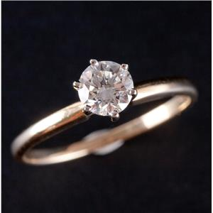 14k Yellow & White Gold Round Cut Diamond Solitaire Engagement Ring .49ct