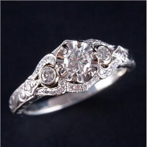 14k White & Rose Gold Diamond Solitaire Engagement Ring W/ Accents .61ctw