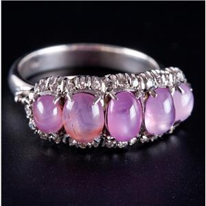 Vintage 1940's 18k White Gold Natural Pink Star Sapphire & Diamond Ring 3.30ctw
