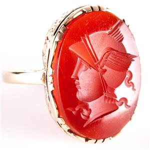Vintage 1910's 14k Yellow Gold Oval Cut Carnelian Intaglio Male Bust Ring 3.7g