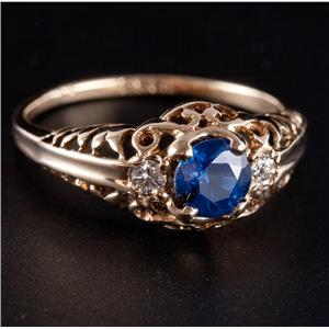 Vintage 1930's 10k Yellow Gold Sapphire & Diamond Engagement Ring .75ctw