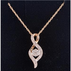 "10k Yellow Gold Round Cut Diamond Cluster Pendant W/ 18"" Chain .30ctw"