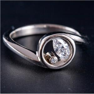Platinum Marquise & Round Cut Diamond Modern Design / Style Ring .42ctw