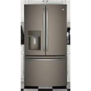 GE 36 Inch Slate TwinChill LED Lighting French Door Refrigerator GFE28GMKES