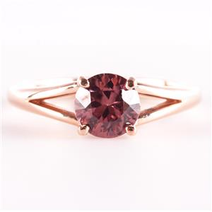 14k Rose Gold Round Cut Pink Cognac Zircon Solitaire Engagement Ring 1.0ct