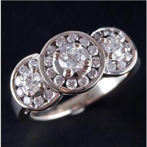 14k White Gold Round Cut Diamond Three-Stone Halo Style Engagement Ring 1.17ctw