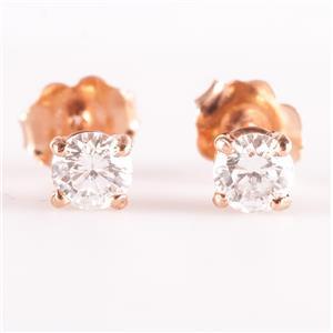 14k Rose Gold Round Brilliant Cut Diamond Solitaire Stud Earrings .35ctw
