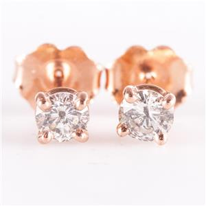 14k Rose Gold Round Cut Diamond Solitaire Stud Earrings .44ctw