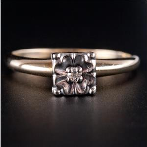 10k Yellow & White Gold Diamond Solitaire Vintage Style Engagement Ring .02ct