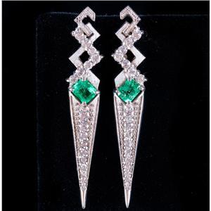 14k White Gold Emerald Cut Emerald & Diamond Dangle Stud Earrings 1.78ctw