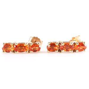 10k Yellow Gold Oval Cut Spessartine Garnet Three-Stone Stud Earrings 1.58ctw