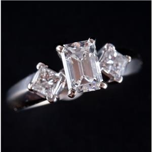 14k White Gold Emerald Cut Diamond Solitaire Engagement Ring W/ Accents 1.30ctw
