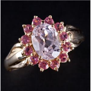 14k Yellow Gold Oval Cut Morganite & Pink Topaz Halo Style Cocktail Ring 2.33ctw