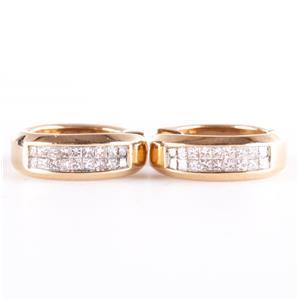 14k Yellow Gold Princess Cut Invisible Set Diamond Hinged Hoop Earrings .90ctw